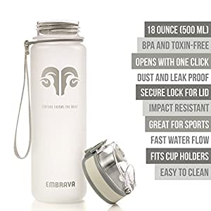 Best Sports Water Bottle - 18oz Small - Eco Friendly & BPA-Free Plastic - Fast Water Flow, Flip Top Lid, Opens With 1-Click (White)