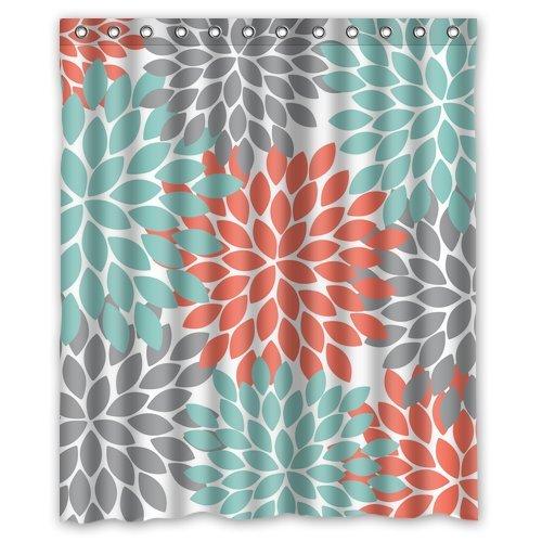 (D-Story Custom Unique Bath Curtain Dahlia Floral Print Waterproof Polyester Fabric 60