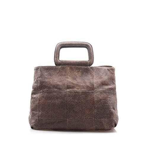 (Viviesta Women's Genuine Soft Cow Leather Top Handle Shoulder Tote Handbag - Wood)