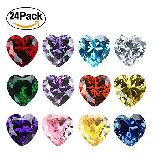 Heart 5MM Birthstones Floating Charms Bulk for Living Memory Locket Pendant Necklace (Heart) (Cubic Glass)