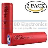 Panasonic Sanyo NCR20700B High Drain Li-ion 3.6V 4250mAh 10A Rechargeable Flat Top Battery, (2 Pack) by M&A BD Electronics