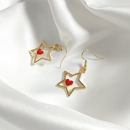 y sweet nectarine heart earrings five-pointed star drop earrings simple girl's mind ()
