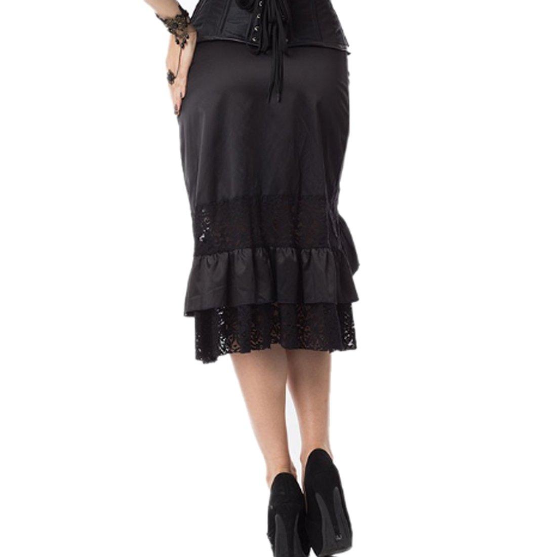 bdd1a17b49 Falda Steampunk y Dobladillo Falda de Encaje de algodón Negro Punk Rock Falda  gótica Negra Hip Club Vestir Vintage  Amazon.es  Ropa y accesorios