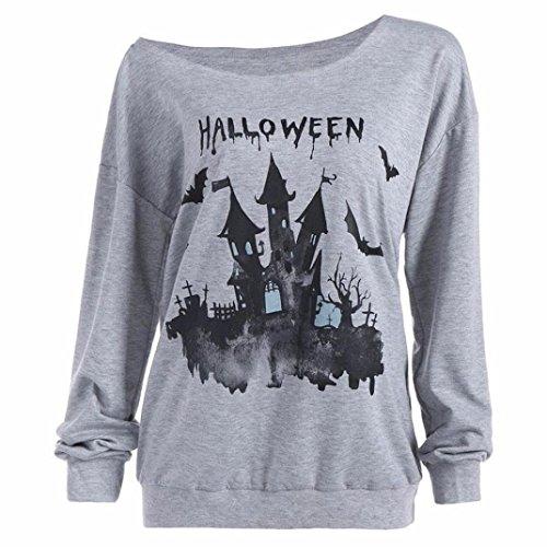 Women O-Neck Long Sleeve Tops Halloween Pumpking Haunted House Sweatshirt Pullover Blouse Shirt (s, gray) ()