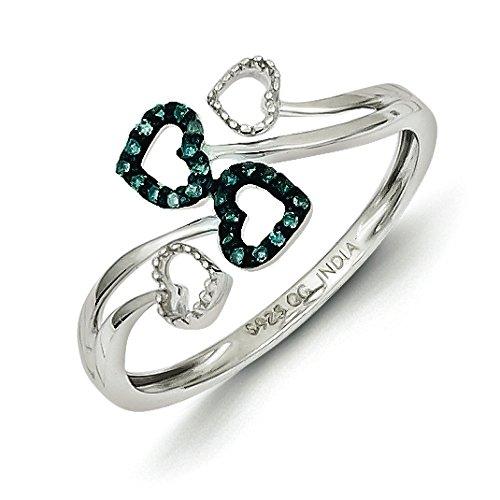 925 Sterling Silver Rhodium-plated Blue & White Diamond Multi Heart Ring Size (Blue Diamond Heart)