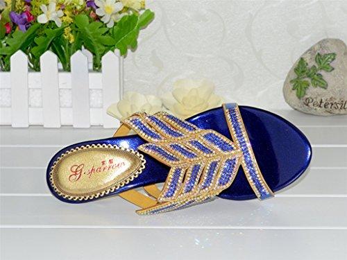 Le Scarpe Crc Delle Donne Dei Sandali Del Partito Di Cerimonia Nuziale Del Prom Spilla Della Scintilla Di Unico Del Passero Blu