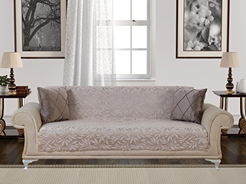 Chiara Rose Acacia Anti-Slip Armless Pet Dog Sofa Couch Cover Sectional Recliner Slipcover Non-Slip 1-Piece Furniture Protector Throw Futon Shield 2 3 Seater T L Cushion Leather Sofa Beige