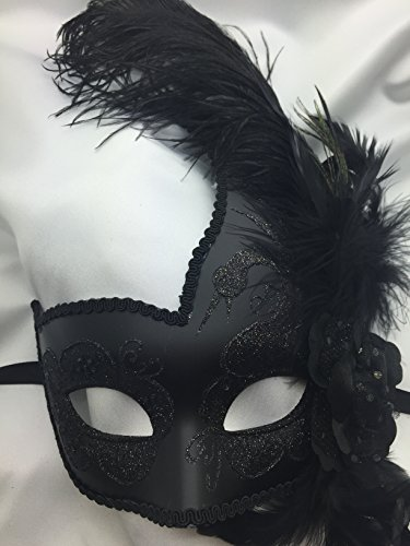 [All Black Feather Swan with Flower Masquerade Mask Ball Mask Mardi Gras Mask Women Mask] (Black Swan Costumes For Halloween)