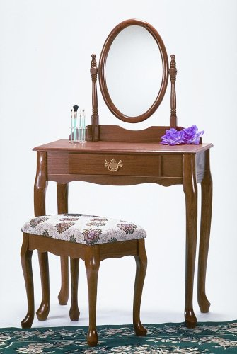Roundhill Furniture Queen Anne Style Wood Makeup Vanity with Mirror and Bench, Oak Finish