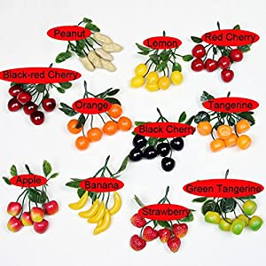 Colorfulife® Artificial Plastic Lifelike Mini 6 Fake Fruit Vegetable String Model Party Home Decoration Teaching Props Photo Child Education Fruits House Kitchen Creative Decorative (6, Tangerine) 2