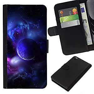KingStore / Leather Etui en cuir / HTC DESIRE 816 / Purple Planet Universo Luna Galaxy estrella Nube