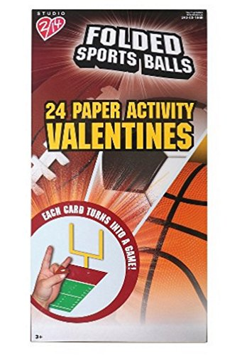 Folded Sports Balls 24 Paper Activity Valentines