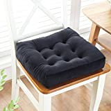 W&lx Square floor pillow cushion,Cotton linen non-slip cushion Boosted Thicken 10cm Tufted Padded Chair mat Balcony Windowsill Seat cushioning Backrest For home office-black 50x50cm(20x20inch)