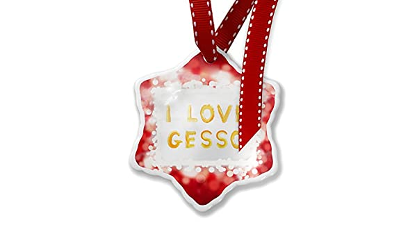 Amazon christmas ornament i love gesso brushed hand paint