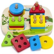 BettRoom Toddler toys for 1 2 3 4-5 year old boys girls Wooden educational preschool shape color Recognition Geometric Board Blocks Stacking Sort Chunky kids Children Baby NON-TOXIC (8IN)