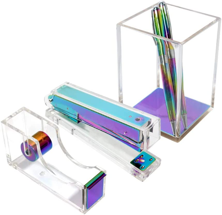 Rainbow Acrylic Clear Office Supplies Set Colorful Desktop Supplies Kit with Pen Holder Stapler Tape Dispenser Colorful Desktop Accessories for Office N Home
