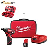 Milwaukee M12 12-Volt Lithium-Ion Cordless 1/4 in. Hex Screwdriver Kit W/(2) 1.5Ah Batteries, Charger & Tool Bag 2401-22 and Toucan City Tool Kit (9-Piece)