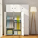 MAGINELS Magicial Panels Wardrobe Portable Closet Organizer Clothes Armoire Cube Storage Dresser for Bedroom, Large & Study, White, 6 Cubes & 2 Hanging Sections