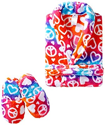 Sleep & Co Big Girls' Ombre Hearts Peace Robe with Slippers Set