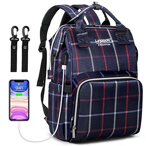 Baby Diaper Bag Backpack,Multi-Function Stylish Travel Maternity Baby Nappy Changing Bags with USB Charging Port For Mom & Dad