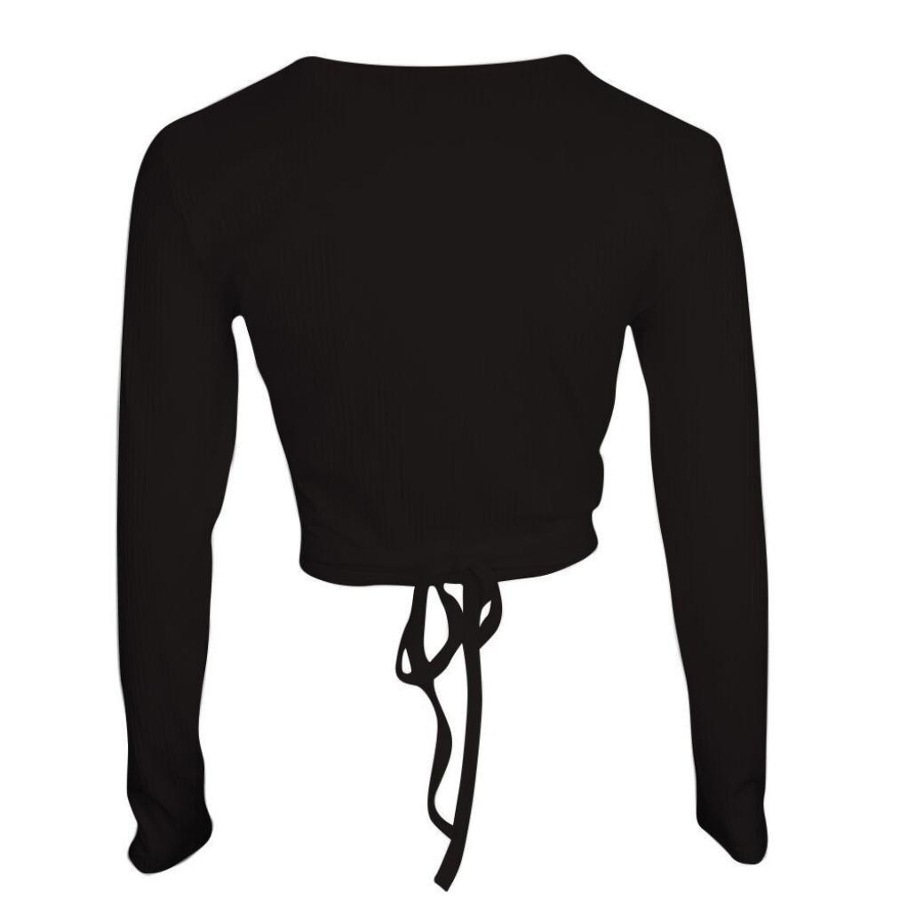 OWMEOT Women's Sexy Deep V Neck Bandage Surplice Wrap Crop Top (Black, S)