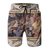 Wons Mens White Golden Church Ceiling with Painting in Italy Europe Basic Swim Short L Adjustable Beach Shorts with Pockets
