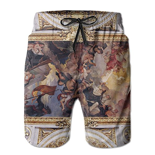 Wons Mens White Golden Church Ceiling with Painting in Italy Europe Basic Swim Short L Adjustable Beach Shorts with Pockets by Wons