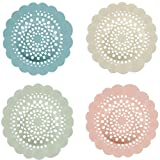 Shower Filter, 4 Pack Tub Drain Protector Silicone Flower Shape Drain Cover Hair Catcher/Strainer/Snare for Showers or Bathtubs