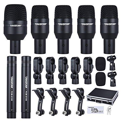 ammoon TAKSTAR DMS-7AS Wired Microphone Mic Kit for Drum Set with Standard Mounting Thread Carrying Case 1 Big Drum Microphone 4 Small Drum Microphones 2 Condenser Microphones (Type 2) by ammoon