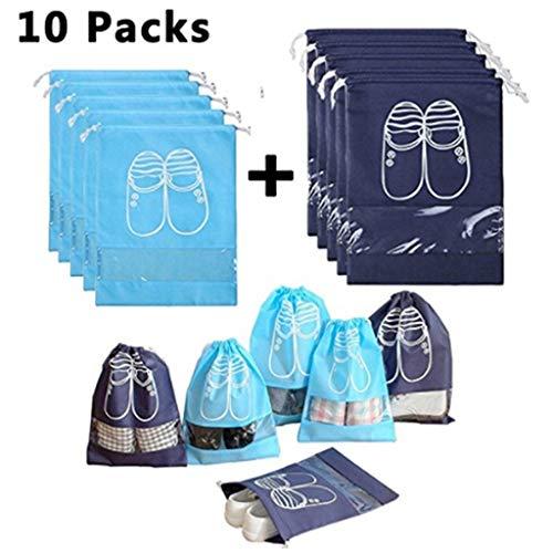 LeiJ 10Pcs Waterproof Shoes Bag Pouch Storage Travel Bag Portable Tote Drawstring Bag Organizer Cover Non-Woven Laundry Organizer Navy Blue 10 Pcs