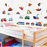 Personality Transport Wall Stickers Train Ship Car Police Decals art Kids Nursery Bedroom DIY Wall Sticker tt01