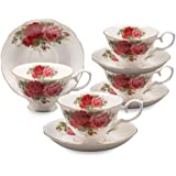 Gracie Bone China 8-Ounce Cup and Saucer, Old Country Rose, Set of 4