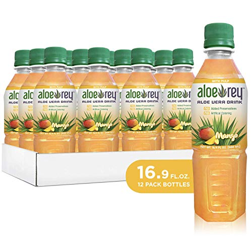New Aloe Rey Naturally Flavored Aloe Drink with Pulp, 30 Calories per serving, No Preservatives, 16.9 oz. bottle. (Mango, Pack of 12)