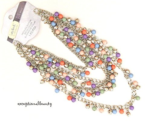 - Necklace Bottom Silver Chains Faceted Round Beads Focal Layered Tori Spelling