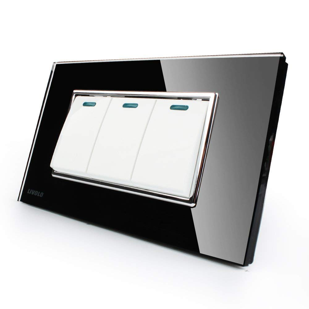 LIVOLO Black US/AU Standard 3 Gang 2 Way Push Button Switch With Luxury Tempered Glass Panel,AC110-220V,C3K3S-82