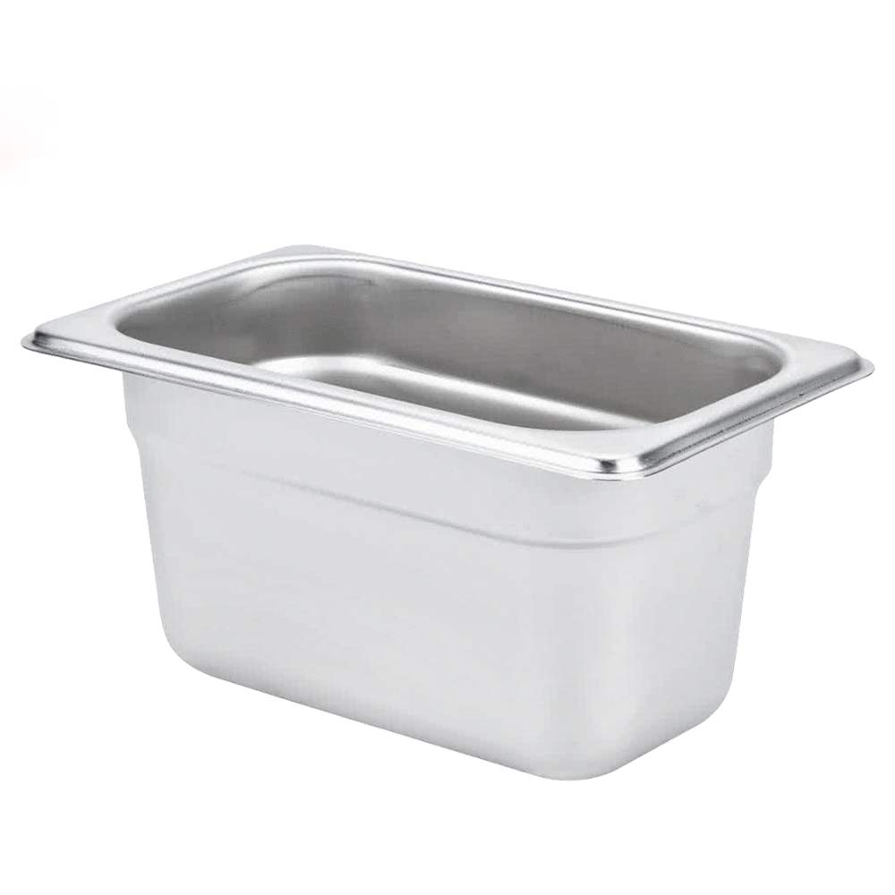 "4"" Deep Steam Table Pan 1/9 Size, 1.1 Quart Stainless Steel Anti-Jam Standard Weight Hotel GN Food Pans - NSF (6.93""L x 4.25""W)"