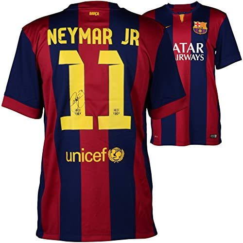 detailed pictures 1fc0c 898c2 Neymar FC Barcelona Autographed Red & Blue Jersey - Fanatics ...