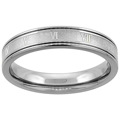 4.5 Mm Band (Titanium 4.5mm Wedding Band Roman Numeral Ring Grooved Edges Flat Comfort Fit, size 8)