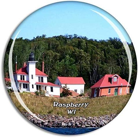 ラズベリーアイランドウィスコンシン米国冷蔵庫マグネット3Dクリスタルガラス観光都市旅行お土産コレクションギフト強い冷蔵庫ステッカー