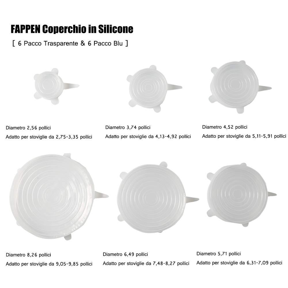 Coperchi in Silicone Estensibile 12 Pezzi FAPPEN Coperchio Silicone per Ciotole Trasparente+Blu BPA Free Coperchio per Alimenti Freschi Tazze Riutilizzabile e Duraturo per Alimenti