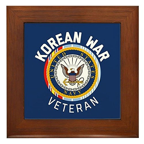 CafePress - Navy Korean War Veteran - Framed Tile, Decorative Tile Wall Hanging - Korean Wall Hanging