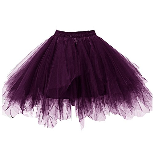 Kileyi Womens Tutu Costume Adult Party Dance Tulle Skirt Short Fluffy Petticoat Dark Purple M]()