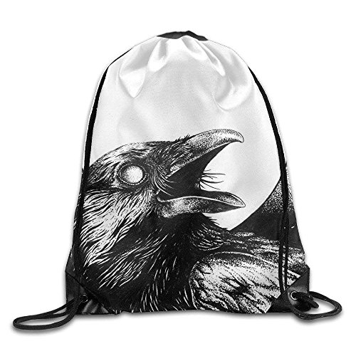 Drawstring Shoulder School Student Bag Canvas Travel Bag Moon Good Nighht Crow Crying Black And White Backpack For Boy School