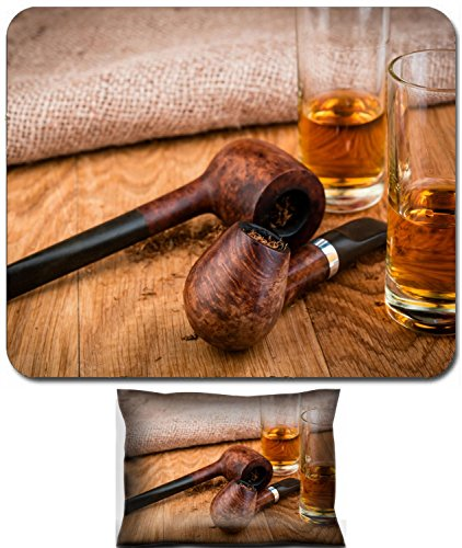 Price comparison product image Luxlady Mouse Wrist Rest and Small Mousepad Set, 2pc Wrist Support design IMAGE: 34329976 smoking pipes and cognac or brandy glasses on vintage style