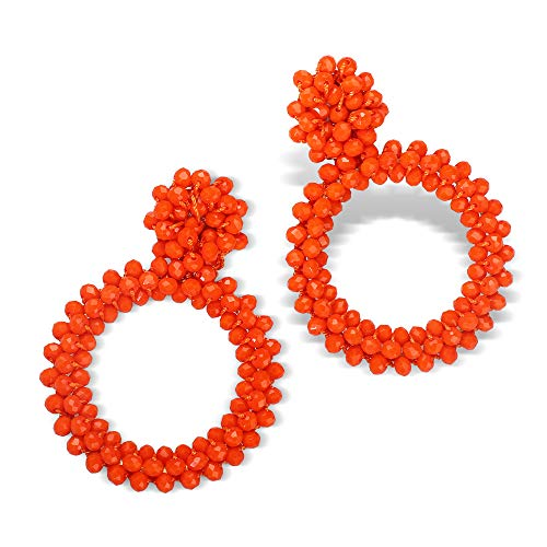 - Fifata Beaded Hoop Earrings Bohemian Handmade Fringe Dangle Drop Statement Earrings for Women (Bead hoop- summer orange)
