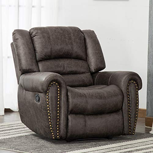 ANJ Leather Recliner Chair Breathable Bonded, Classic and Traditional 1 Seat Sofa Manual Recliner Chair with Overstuffed Arms and Back, Smoke Gray