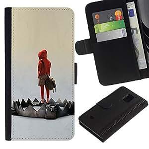 // PHONE CASE GIFT // Moda Estuche Funda de Cuero Billetera Tarjeta de crédito dinero bolsa Cubierta de proteccion Caso Samsung Galaxy S5 Mini, SM-G800 / Emo Trap /