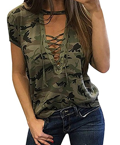 (Smile fish Women Camouflage Print V-Neck Lace-up T-Shirt (S, Green 3) )