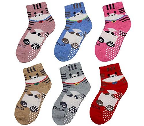 Target Girls Fashion - Non skid socks / ankle for girls, toddler, kids, baby, Infants (Girl's Socks Anti Slip Socks for children Value Pack Assorted color)
