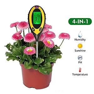 4en 1probador del suelo multifunción pathonor Comprobador pH suelo Tester Humedad Tester Jardín para test PH, temperatura, humedad y luz de suelo para césped, Granja, jardinería